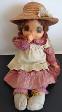 "SEKIGUCHI Vintage Japan Anime Doll Big Eyes with Straw Hat 19"" Sucks Thumb NICE"