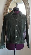 LEMON GRASS STUDIO Olive Green Velour, Corderoy and Tapestry Jean Jacket Size L