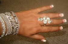 Rhinestone Unbeliveable Just for The Moment Rock on Snake Rhinestone Eyes Ring