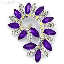 NEW LARGE SILVER FLOWER BROOCH PURPLE DIAMANTE CRYSTAL WEDDING BRIDAL BROACH UK