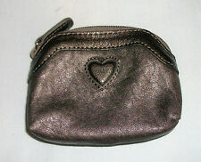 Brighton Heart Logo Leather Change Purse 3 1/2 x 4 1/4 Metallic Antique Bronze