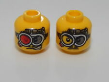 Lego Minifig, Head Dual Sided Glasses, Red and Gray Lens Clear and Gray Lens #8