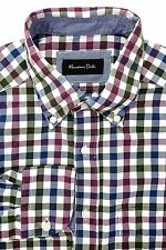 Massimo Dutti Men's Button Down Shirt Blue Green Red Gingham Size Small / P