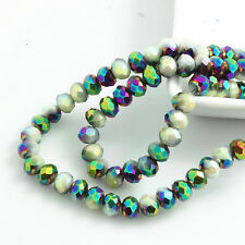 New 100pcs Rondelle Faceted Crystal Glass Loose Spacer Beads 6X4mm HA0108