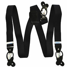 New in box Men's Suspender Black elastic Braces clips buttons party wedding