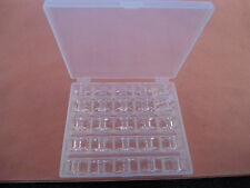 BOX OF 25 BOBBINS CLEAR PLASTIC Husqvarna Viking Emerald 116,118,183,203
