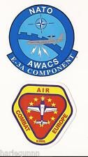 2 BADGES PATCH STICKERS - AIR COMBAT EUROPE E300L & NATO AWACS E-3A COMPONENT