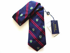 New Ralph Lauren Polo Italy 100% Silk Handmade Navy Blue Crested Striped Tie