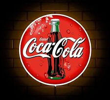 COCA COLA BADGE SIGN LED LIGHT BOX MAN CAVE COFFEE DRINK GAMES ROOM BOYS GIFT
