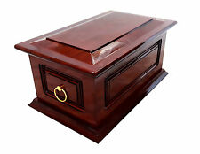 Funeral Solid Wood Cremation Ashes Urn Casket - Newton With Small Handles