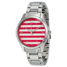 Armani Exchange Pink and White Striped Dial Ladies Watch AX5232
