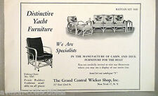 Cabin & Deck Boat & Yacht Furniture PRINT AD - 1948 ~~ Grand Central Wicker Shop