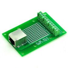 RJ50 10P10C Right Angle Shielded Jack Breakout Board, Terminal Block Connector.