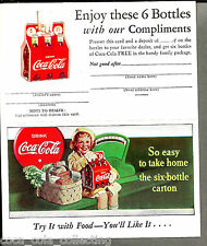 Original 1930's - 40's Free Coca-Cola 6 Pack Coupon & Advertising Card, NOS