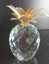 "SWAROVSKI LEAD CRYSTAL FACETED PINEAPPLE WITH SMOOTH GOLD LEAVES (J77) 4"" large"