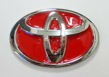 SILVER CHROMED UNIVERSAL TOYOTA RED EMBLEM BADGE NEW, HILUX, CAMRY , ALTIS