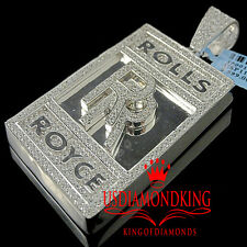 Mens White Gold On Real Sterling Silver Lab Diamond Luxury Car Logo RR Pendant