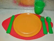 RARE VINTAGE 80'S LITTLE TIKES PRETEND PLAY KITCHEN FUN TABLE FOOD DISHES LOT