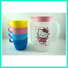 LATEST Water Tea Container Pitcher Set With 4 Cups For Hello Kitty + Charm