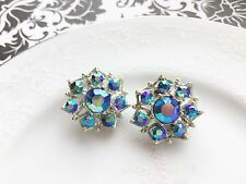 Vintage SELINI Signed AB Blue Rhinestone Clip Earrings, Silver Tone, Selro