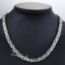8MM Flat Byzantine Stainless Steel Men's Chain Necklace Customized Size Fashion
