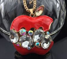 A138 Betsey Johnson Crystal Enamel Apple Pendant Sweater chain Necklace