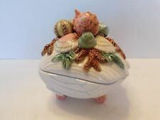 FITZ AND FLOYD OCEANA SEA SHELL COVERED DISH CONDIMENT DISH