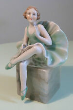 FASOLD & STAUCH GERMAN ART DECO PORCELAIN LADY BALLERINA FIGURE ON MARBLED BASE