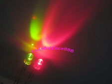 100pcs 3mm Dual Bi-Color Red/Green Led Water Clear Leds 2-Pin Lights + Resistors