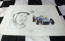 STIRLING MOSS ROB WALKER LOTUS 18 MONACO 1961 1st WIN STUNNING SIGNED PRINT BEST