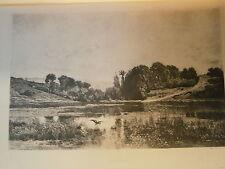 Planche gravure Solitude d'aprés Daubigny  graveur T-Narcisse Chauvel