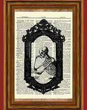 Goth Skeleton Mirror Dictionary Picture Story Art Print Gothic Poster