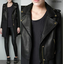 Rare!! ZARA BLACK REAL COW GENUINE LEATHER BIKER COAT JACKET BLAZER LARGE L NEW