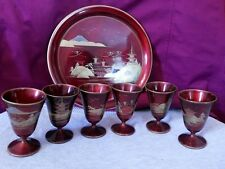 VINTAGE JAPANESE LACQUER SAKI/ SAKE SET TRAY & 6 CUPS HAND PAINTED GOLD- CHERRY