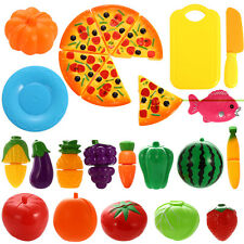 24 x Pretend Foods Plastic Cutting Fruits Vegetables Pizza Kitchen Party Playset