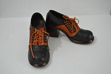 Vintage 70s Colorblock Oxford Shoes Stacked Heel Wood 6.5 Brown