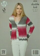 KNITTING PATTERN Ladies Long Sleeve V-Neck Cardigan DK King Cole 4234
