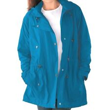 Exotic Peacock Blue/Green Teal Women's Jacket Lined Removable Hoodie Size 2x