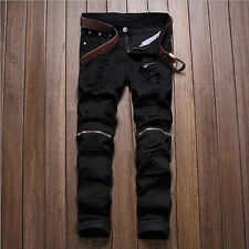 New Mens Fashion Unique Slim Fit Vintage Wax Coated Slim Biker Denim Jeans Pants
