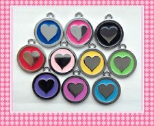 Pet Dogs Cat ID Round HEART TAG Free ENGRAVED Name Telephone Mobile Number 2.5cm