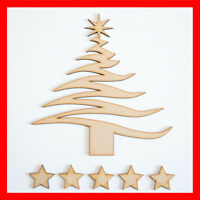 Wooden MDF ChristmasTree Shape Blank Family Tree Crafting - FREE Stars