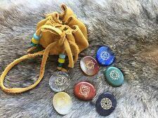 Engraved chakra stone set - palmstone crystal reiki healing 7 pieces