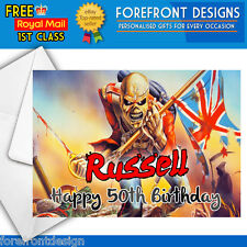 Personalised Iron maiden Birthday Greeting Card Any occasion/message A5