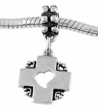 STERLING SILVER DANGLING CROSS WITH HEART CUT OUT IN THE MIDDLE EUROPEAN BEAD