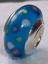 Aqua Blue Dot Single Core Murano Glass Bead fits Silver European Charm Bracelets