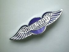 MOTORCYCLE PIN BADGE 'TRIUMPH WING - BLUE' MOTORBIKE LAPEL BADGE - BG38B