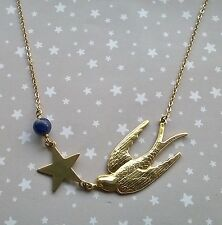 Vintage Style Swallow Bird Star Gemstone Sodalite Necklace - Boho Planet Brass