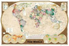 World Map Poster Triple Projection  Satin Matt Laminated New
