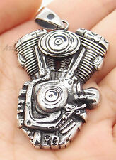 Mens Motorcycle Engine Rumber Biker Chopper Stainless Steel Pendant Free Chain