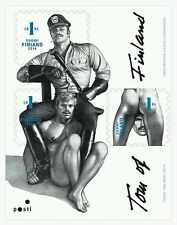 Tom of Finland, Finnish 1st-Class Postage Stamps, flat sheet of 3, gay interest,